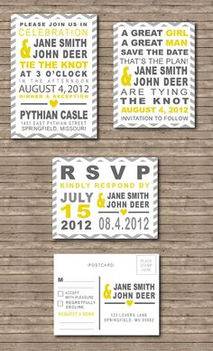 Chevron Yellow & Grey Wedding Save the Date, Invitation and RSVP Postcard