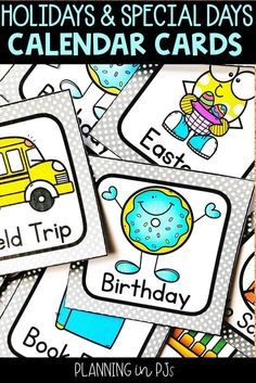 Calendar Cards: Holidays and Special days Add these cards to your classroom calendar! 60 adorable cards for your kindergarten calendar. Kindergarten Calendar, Calendar Activities, Kindergarten Classroom, Classroom Decor, Calendar Bulletin Boards, Classroom Calendar, School Calendar, Special Day Calendar, Holiday Calendar