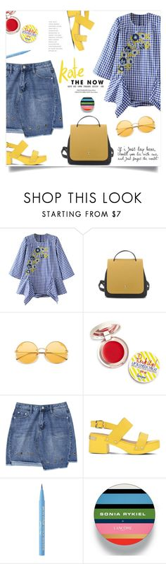 """Embroidered Blouse"" by mahafromkailash ❤ liked on Polyvore featuring Supergoop!, Love Moschino, Too Faced Cosmetics and Lancôme"