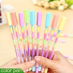 6 pçs/lote rainbow color gel caneta 6 em 1 canetas de cor DIY álbum de fotos decoração caneta marcador marcador papelaria