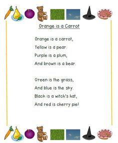 Orange is a Carrot Poem: Follow the link to find a complete reading lesson with…