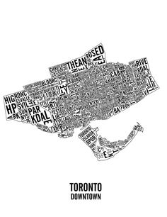 Downtown Toronto Neighbourhoods and Landmarks map.
