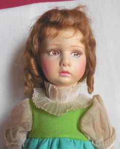 "c1925-1935 16"" Lenci Italy Felt Doll W/Mariuccia Face & Tag All Original"