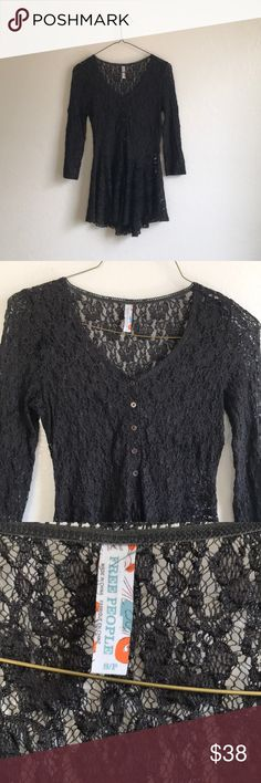 Free People Black Lace Top My girl Stevie Nicks would definitely rock this Free People top. The lace detail is so pretty. I wore this to a music festival last year and got loads of compliments. This top is for the free spirit. 🌻 Free People Tops Blouses