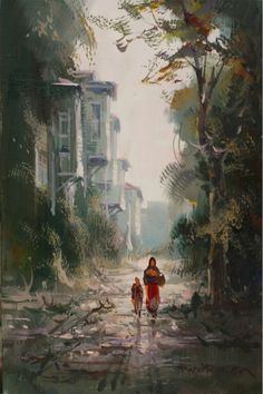 (Turkey) by Remzi Taskiran ). oil on canvas. born in Adiyaman in Turkey. Istanbul, Sans Art, Waterfall Paintings, Amazing Paintings, Turkish Art, Environmental Art, Art Music, Urban Art, Traditional Art