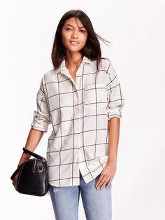 Boyfriend Windowpane Flannel Shirt