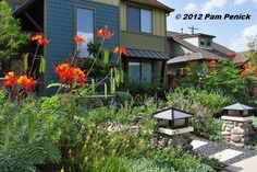 Drive-By Gardens: Rockin' alternative lawns in north Austin | Digging ----love the pillars!