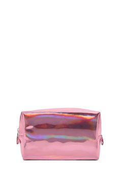 A faux patent makeup bag featuring a holographic effect and a top zipper.