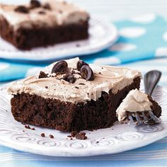 Recipe: Cappuccino Frosted Brownies | SouthernLiving.com | #Chocolate