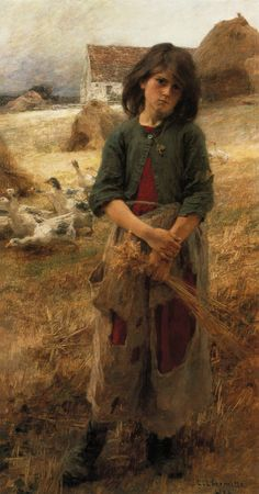 """Painting of the Day! Leon-Augustin L'hermitte (Leon Augustin L'hermitte) (1844-1925) """"The Goose Girl of Mezy"""", Oil on Canvas, 1892 To see more works by this artist please visit us at: http://www.artrenewal.org/pages/artist.php?artistid=831 - Share your favorite old master works: http://www.pinterest.com/ArtRenewal/share-your-favorite-old-master-works/"""
