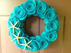 Turquoise Wreath, Summer Beach Wreath Made with Felt, Pearls and Starfish-could do without the starfish for my front door
