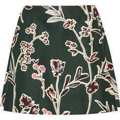 Marni Floral-print cotton and silk-blend mini skirt (€225) ❤ liked on Polyvore featuring skirts, mini skirts, bottoms, emerald, floral skirt, short skirts, floral print skirt, floral printed skirt and flower print skirt