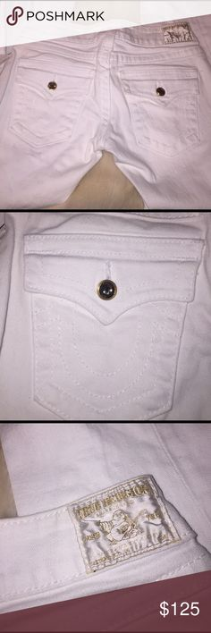 True Religion Jeans✨ White True Religion Jeans with Gold Sparkly Buttons✨These are in perfect condition! Size 26. Still has the tags on them. I love these jeans! Super rare style. True Religion Jeans Flare & Wide Leg
