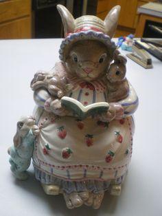 1992 Fitz and Floyd Bunny Bonnet Hill Cookie Jar ❤❤❤