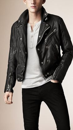 Burberry London Quilted Panel Biker Jacket