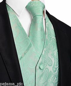 Aqua Mint Green20-HH Paisley Tuxedo Suit Dress Vest Waistcoat & Neck tie Wedding