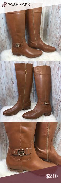 7004adc39de NWT Michael Kors Harland brown riding boots sz 11 Gorgeous luggage brown  tall leather riding boots