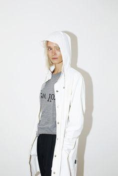 White Hooded Rain Coat