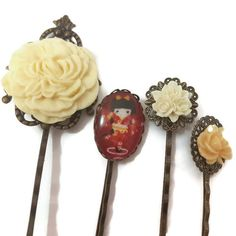 Kokeshi Bobby Pins-Set of 4-Geisha Hair Pins-Kawaii Hair Slides-Floral Hair Clips-Cute Hair Comb-Japan Style Hair-Doll Bobby Pins-Cute Hair