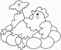 desenho galinha e pintinho para pintura em tecido