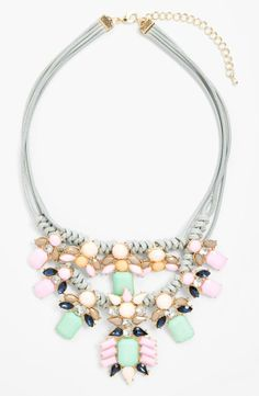 Love the mint and pastel pink stones on this crystal statement necklace.