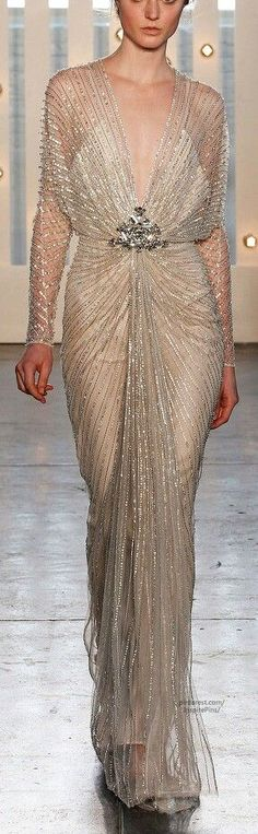 Champagne evening gown by Carlos Miele Spring 2013 RTW