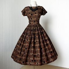 Vintage 1950's dress ...whimsical cocoa multi-dot and stripes cotton full skirt pin-up dress w/ self-cummberbund belt