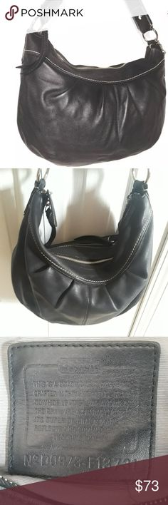 Coach black leather hobo bag 11x17  no. f1373 purs Coach black leather hobo bag measures 11x17  Exterior in great condition interior does need some cleaning (has marks from normal use and has some ink spots) Coach Bags Hobos