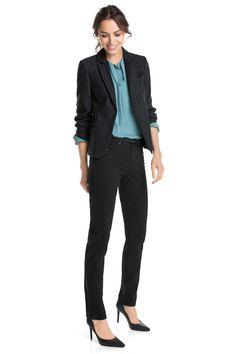 Esprit : Pantalones, 5 bolsillos satinados, cinturón en la Online-Shop