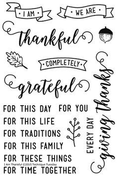 "TECHNIQUE TUESDAY: I Am Thankful (4"" x 6"" Clear Photopolymer Stamp) This clear photopolymer stamp set is great for your planners, calendars, cards, and pocket scrapbooking. Set includes seventeen clea"