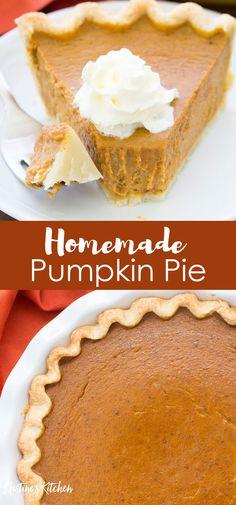 Classic Pumpkin Pie Recipe - The Best Easy Recipe! - This easy homemade Pumpkin Pie Recipe makes the BEST pumpkin pie! You won't believe how quick and - Classic Pumpkin Pie Recipe, Perfect Pumpkin Pie, Homemade Pumpkin Pie, Easy Pumpkin Pie, No Bake Pumpkin Pie, Vegan Pumpkin Pie, Pumpkin Pie Bars, Baked Pumpkin, Sugar Pumpkin Pie Recipe