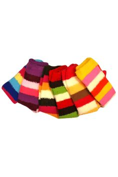 Soft 6 Pack Thick Striped Leg Warmers