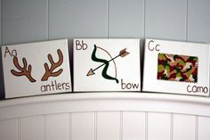 ABC Nursery Art - Antlers, Bow, Camo - Perfect for Hunting Themed Nursery Baby Boy Rooms, Baby Boy Nurseries, Baby Room, Kids Rooms, Camo Nursery, Nursery Art, Camo Rooms, Nursery Themes, Themed Nursery