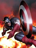 Captain America No.2 Cover: Captain America Jumping and Throwing his Shield Poster by MCNiven Steve
