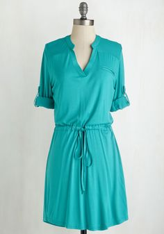 Chill the End of Time Dress. Forever rocking an easygoing air, you are obviously drawn to this aqua shirt dress. #green #modcloth
