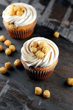 Banana Peanut Butter Captain Crunch Chocolate Chip Cupcakes with Peanut Butter Malted Milk Buttercream