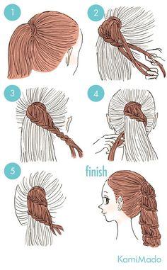 penteado com acabamento em trança