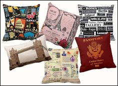 Decorate the bedroom with fun travel theme throw pillows