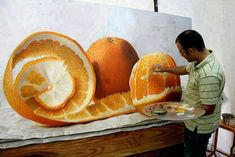 'Citric Spiral'– hyper-realistic painting by Omar Ortiz. (SEARCH hyper realistic paintings omar ortiz orange)