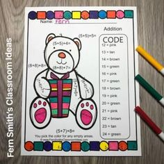 You will love the ease of this Christmas Color By Number Critters Three Addend Addition resources and your students will adore these Christmas Color By Number worksheets while learning and reviewing important skills at the same time! You will love the no prep, print and go ease of these printables. ... Christmas Color By Number, Christmas Colors, Addition Activities, Math Activities, Early Elementary Resources, Elementary Schools, Addition And Subtraction Practice, Classroom Management Tips, Number Worksheets
