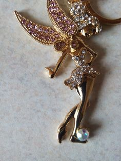 Mothers Day Present , Fairy with wings / decorative pink stones Bag Jewellery
