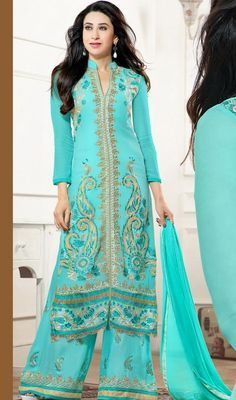 Revamp your wardrobe by choosing this Karisma Kapoor style cyan blue georgette embroidered palazzo dress. The lace, patch and resham work on attire personifies the full look. #EarthlyBlueShadesOfPalazzoSuit