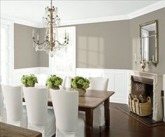Look at the paint color combination I created with Benjamin Moore. Via @benjamin_moore. Wall: Rockport Gray HC-105; Trim & Wainscot: Distant Gray 2124-70; Ceiling: Distant Gray 2124-70.