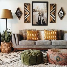 Like this sofa and throw pillows. Also, artwork