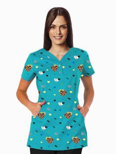 Cute Scrubs, Scrub Tops, Polka Dot Top, Crochet Projects, Short Sleeve Dresses, Casual, Suits, Caregiver, Clothes