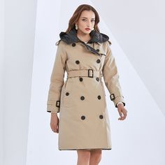 Slim Parka  Hooded Long High Waist Sashes Large Size Straight Parkas#TWOTWINSTYLE#fashionstyle#lookoftheday#picoftheday#beautifual#fashion#like4like#stylel#autumn#follow  Bandeau One Piece Swimsuit, Pea Coats Women, Fur Collar Coat, Long Trench Coat, Slim Fit Dresses, Outerwear Jackets, Double Breasted, Fashion Outfits, Fashion Women