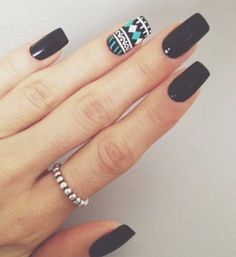 Black Aztec nails