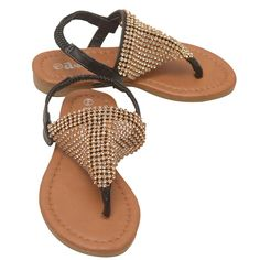 Great pair of thong sandals from Anne Marie designer brand. Ruby flip flop sandal shoes for her daily wear come in black color featuring a shimmery stud adornment and an elastic ankle strap. Perfect choice for sunny summer add will add a touch of sparkle