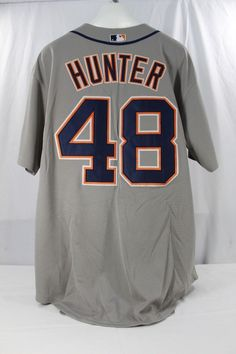 4e89de58418 Details about Detroit Tigers Torii Hunter #48 Gray Majestic Cool Base  Jersey 54 Stitched