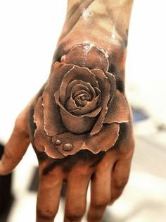Grey Ink Rose 3D Tattoo On Left Hand